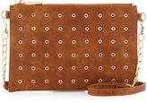 Neiman Marcus Grommet Faux-Leather Crossbody Bag, Cognac
