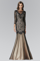 Elizabeth K - Three Quarter Sleeve Lace Trumpet Gown GL2107