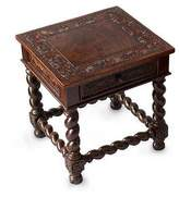 Handcrafted Traditional Leather Wood End Table, 'Viceroy'