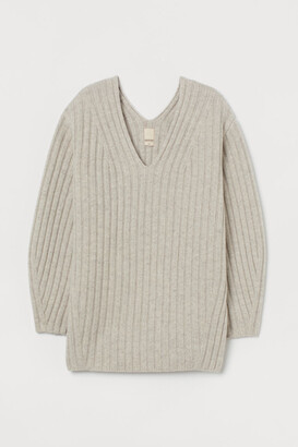 H&M Rib-knit Wool Sweater - Beige
