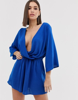Asos DESIGN plunge neck wrap playsuit with blouson sleeve