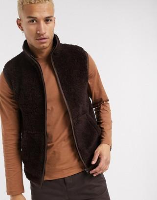 ASOS DESIGN teddy borg gilet in brown