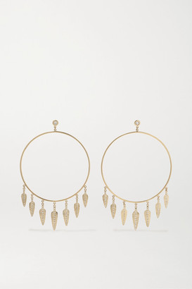 Jacquie Aiche Feather Shaker 14-karat Gold Diamond Earrings - one size