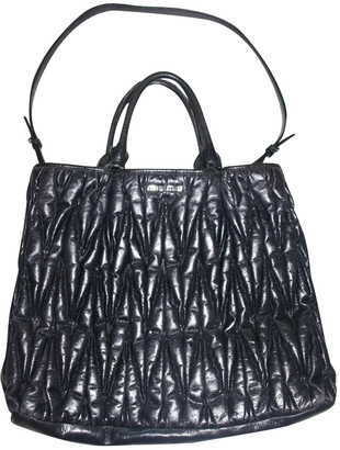 Miu Miu MatelassA Navy Leather Handbags