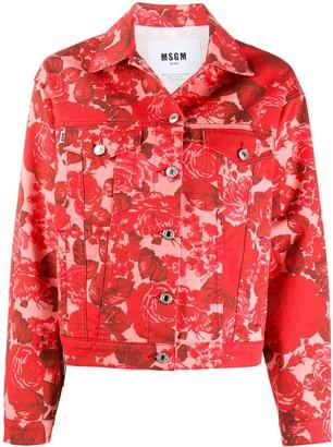 MSGM Rose-Print Denim Jacket
