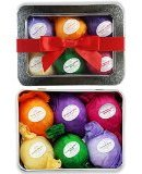 IDEA Bath Bomb Gift Set USA - 6 Vegan All Natural Essential Oil Lush Fizzies. Organic Shea and Cocoa Soothe Dry Skin. Birthday Gifts for her, Teen girls, Valentine gift. Add to Bath Bubbles - Bath Basket