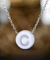 Swarovski Barzel Women's Necklaces Silver/White - Uppercase Initial Pendant Necklace with Crystals
