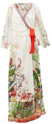 Camilla Faraway Tree Silk Wrap Dress - Womens - White Multi