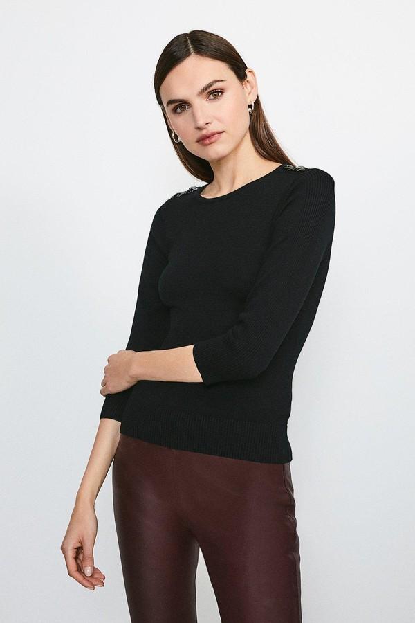 Karen Millen Chain Shoulder Knitted Jumper