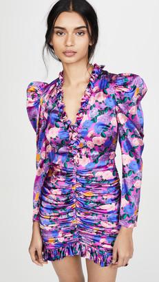 Giuseppe di Morabito Floral V Neck Puff Sleeve Mini Dress