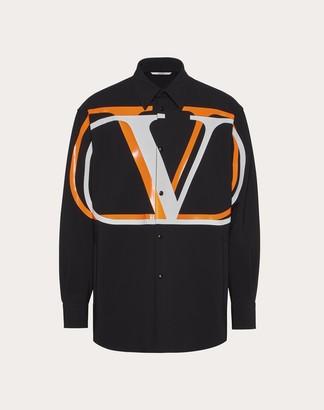Valentino Short Pea Coat With Vlogo Shadow Print Man Black/neon Orange Elastane 28% 46