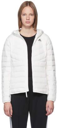 adidas White Varilite Down Hooded Jacket