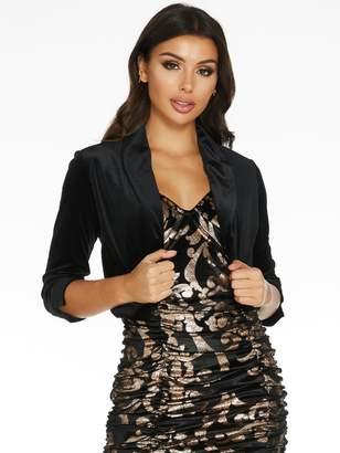 Quiz Velvet Shawl Collar Three Quarter Sleeve Jacket - Black
