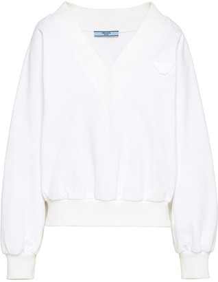 Prada Logo Patch V-Neck Sweatshirt