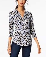 Charter Club Printed Surplice Top, Created for Macy's