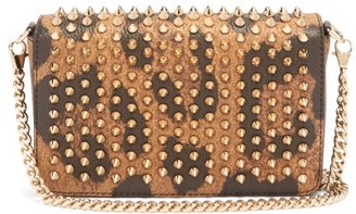 Christian Louboutin Zoomi Leopard-print Leather And Spike Clutch - Womens - Leopard