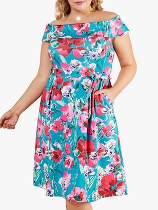 Yumi Curves Poppy Bardot Floral Midi Dress, Multi