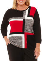 Alfred Dunner Talk Of The Town Colorblock Pullover Sweater-Plus