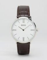 HUGO BOSS BOSS By Ultra Jackson Leather Watch In Brown