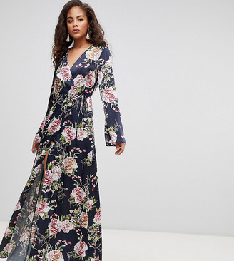 Asos Tall DESIGN Tall wrap maxi with long sleeve in navy floral print-Multi