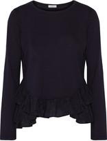 Clu Silk chiffon-trimmed cotton and modal-blend top