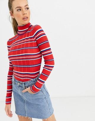 Pepe Jeans Flor stripe rollneck jumper-Red