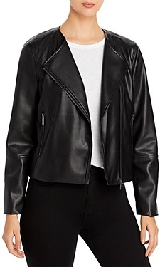 Bagatelle Collarless Faux Leather Moto Jacket