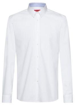 HUGO BOSS Regular Fit Shirt In Easy Iron Cotton Poplin - White