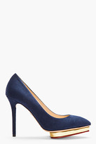Charlotte Olympia Navy Suede Pointed Debbie Pumps