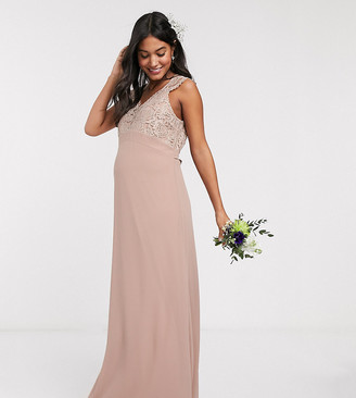 TFNC Bridesmaid Maternity scalloped lace top dress