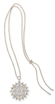 "Eliot Danori Cubic Zirconia & Imitation Pearl Medallion 30"" Adjustable Pendant Necklace, Created for Macy's"