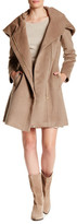 Cole Haan Faux Leather Belted Oversize Hood Wool Blend Coat