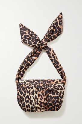 Ganni Medium Knotted Leopard-print Shell Shoulder Bag - Leopard print