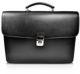 Royce New York Double Gusset Leather Briefcase