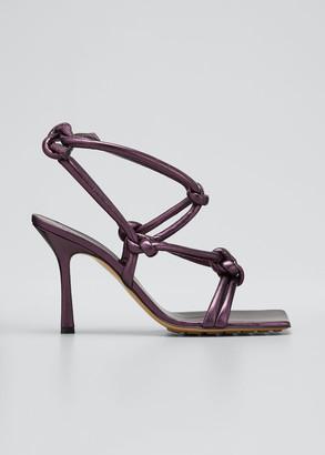 Bottega Veneta Metallic Knot Ankle-Tie Sandals
