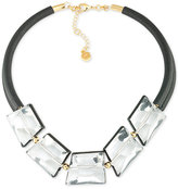 Trina Turk Gold-Tone Crystal Nugget Leather Statement Necklace