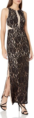 Aidan Mattox Women's Long Sleevless Lace Halter Gown with Illusion Detail