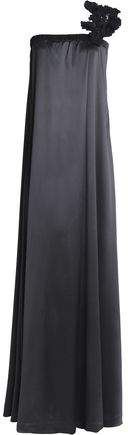 Brunello Cucinelli One-Shoulder Sequin-Embellished Appliquéd Silk-Blend Satin Gown