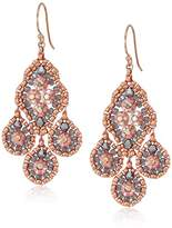 Miguel Ases Small Quadruple Swarovski Cluster Center Contrast Drop Earrings