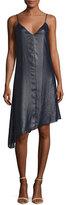 ATM Anthony Thomas Melillo Sleeveless Asymmetric Lacquered Crepe Dress, Navy
