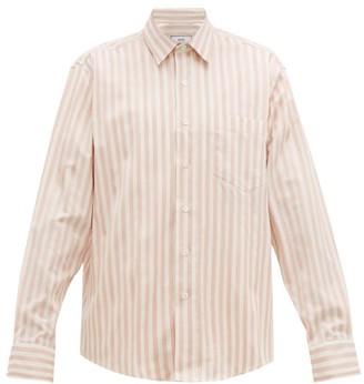 Ami Satin Awning-striped Cotton Shirt - Mens - Pink