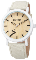August Steiner Wooden Dial Canvas Leather Watch, 42mm