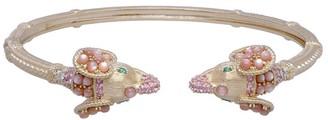Judith Ripka 14K Gold Diamond & Gemstone Elephant Cuff
