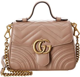 Gucci Gg Marmont Mini Top Handle Leather Shoulder Bag