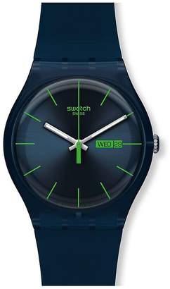 Swatch Blue Rebel Silicone Strap Watch