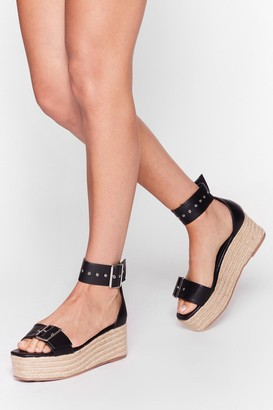 Nasty Gal Womens Don't Buck-le With Me Woven Platform Sandals - Black