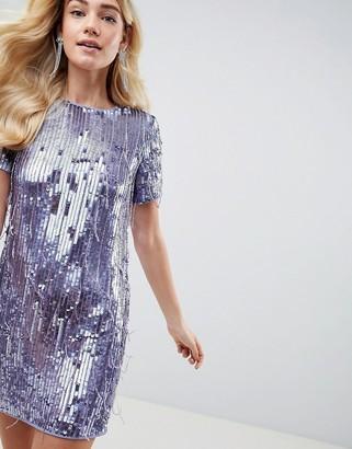 Asos Design DESIGN mini shift dress in heavily embellished fringed sequin-Grey