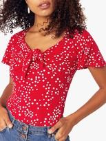 Oasis Juliette Leopard Spot Top, Red