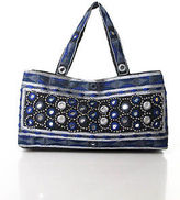 Moyna Blue Black Cotton Embroidered Beaded Small Shoulder Handbag