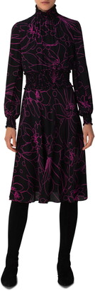 Akris Punto Sashiko Floral Long Sleeve Silk Dress